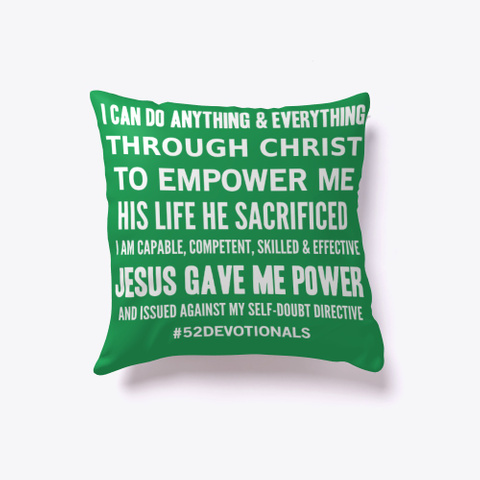 Christian Poems by Anna Szabo #52Devotionals Green Pillow for Christian Women