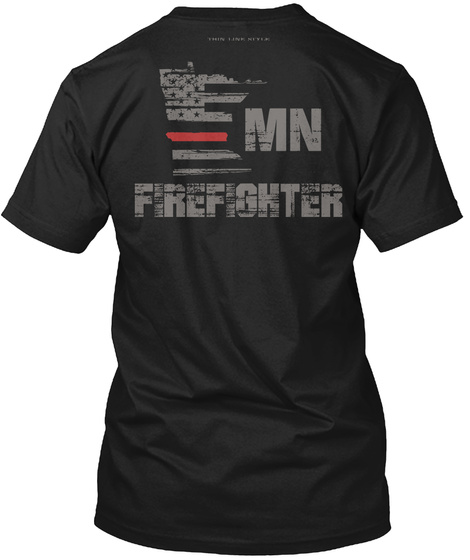 Mn Firefighter Black T-Shirt Back