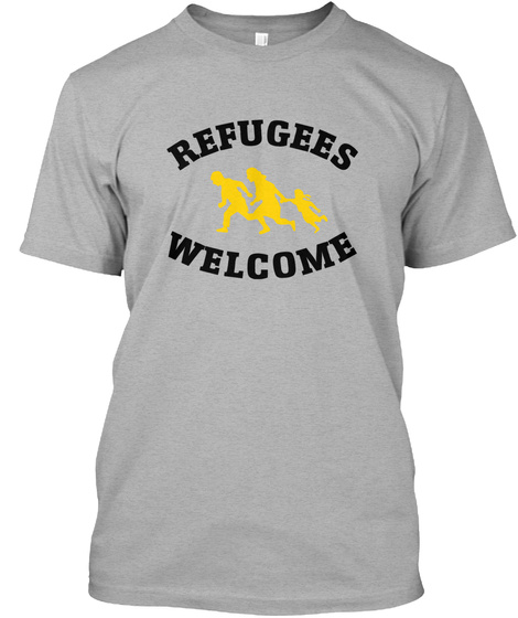 Refugees Welcome Athletic Heather T-Shirt Front
