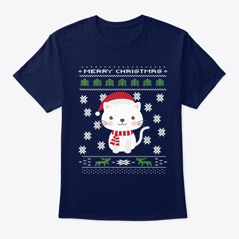 Merry Christmas Cat Navy T-Shirt Front
