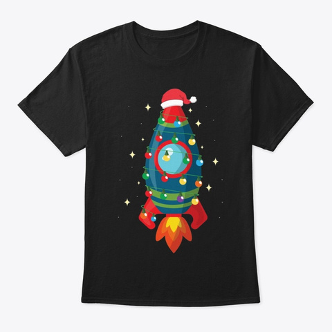 Christmas Space Rocket T Shirt Black T-Shirt Front