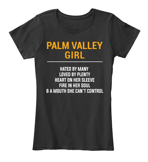 Palm Valley Tx Girl   Heart On Sleeve. Customizable City Black T-Shirt Front