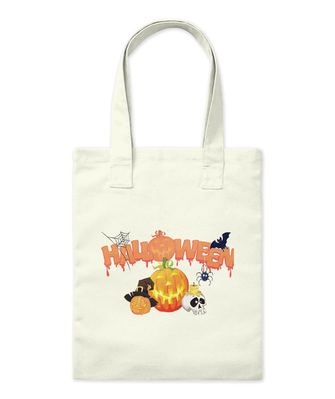 Halloween Trick Or Treat Tote Bag Natural Tote Bag Front