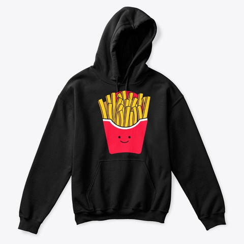 Simple French Fries Face Costume Black T-Shirt Front