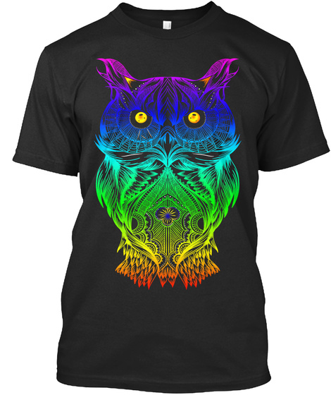 T Shirt Psychedelic Retro Hippie Owl  Black T-Shirt Front