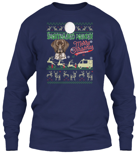 Shorthaired Pointer   Merry Christmas Navy T-Shirt Front