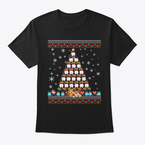 Teeth Christmas Tree Funny Dental Gift F Black T-Shirt Front