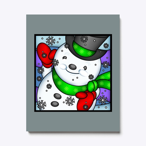 Holiday Scene Cute Adorable Snowman Medium Grey T-Shirt Front