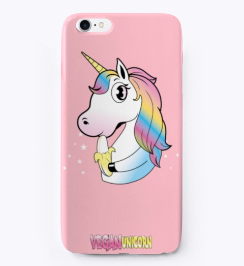 Vegan Unicorn Phone Case Pink T-Shirt Front