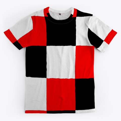 Black White Red Patchwork Check Pattern Standard T-Shirt Front