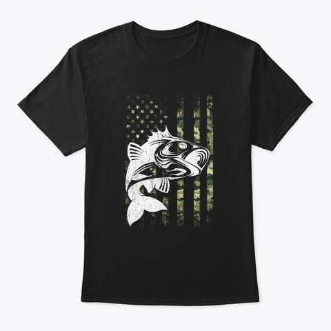 4th Of July Fishing Camouflage Lover Usa Black T-Shirt Front