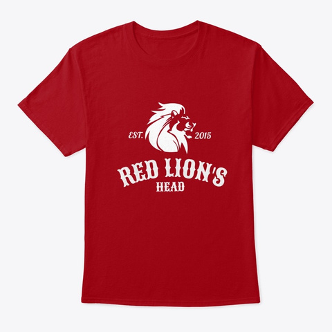 Red Lion's Head Pub T Shirt Deep Red T-Shirt Front