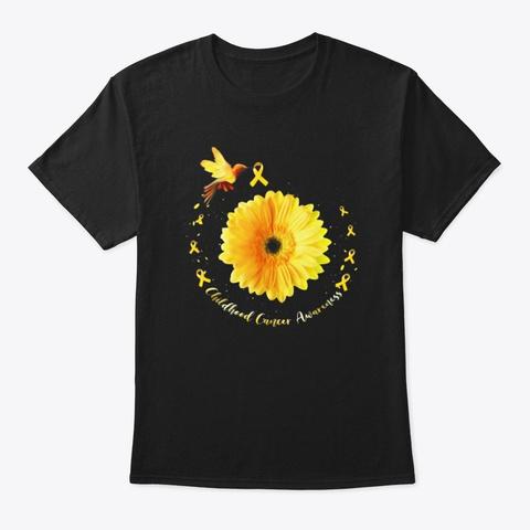 Hummingbird Yellow Sunflower Childhood Black T-Shirt Front