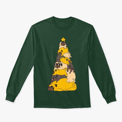 Christmas Tree Pugs Forest Green T-Shirt Front