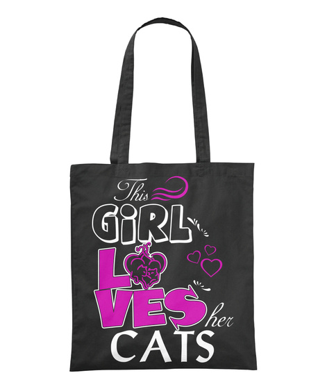 This Girl Lves Her Cats Black T-Shirt Front