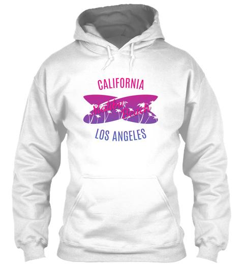 California Malibu Beach Los Angeles White T-Shirt Front