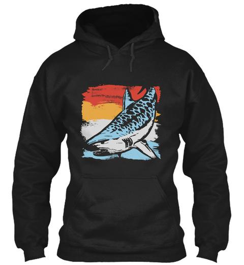 Tiger Shark Fish Black T-Shirt Front