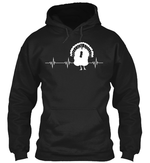 Turkey Heartbeat Black T-Shirt Front