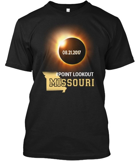Eclipse Point Lookout Mo. Customizable City Black T-Shirt Front