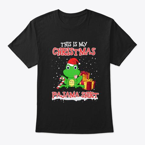 Merry Frog Christmas T Shirt Black T-Shirt Front