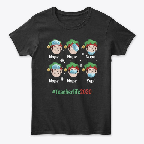 Teacher Christmas   Mask Black T-Shirt Front