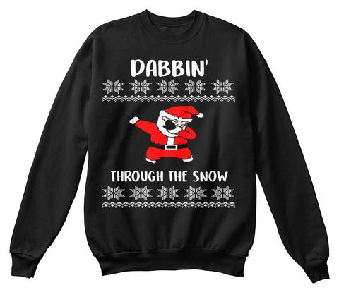 Ugly Christmas Sweater  Dabbing  Santa Black T-Shirt Front