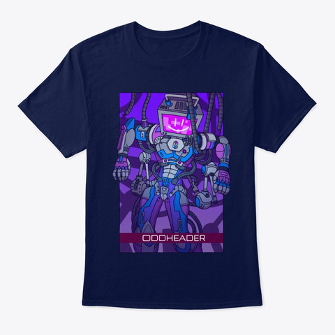 Oddheader Rises Art By Goiaba Navy T-Shirt Front