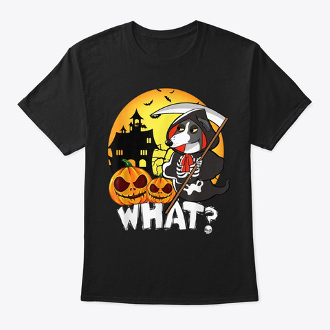 Greyhound  With Halloween Hound Dog Black T-Shirt Front