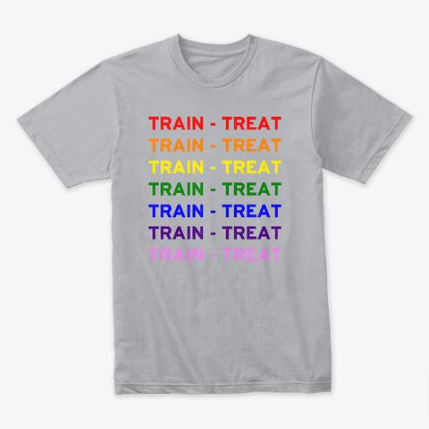 Train Treat Rainbow Heather Grey T-Shirt Front