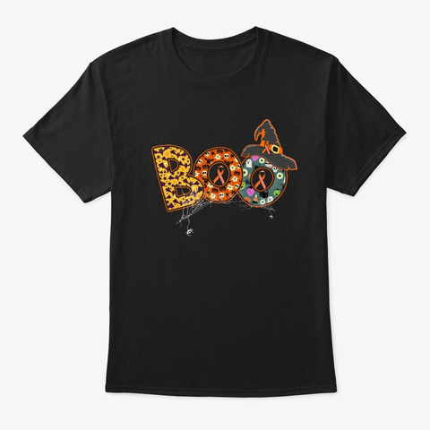 Boo Breast Cancer Tshirt For Halloween Black T-Shirt Front