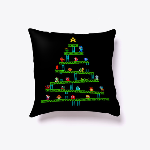 8 Bit Tree Pillow Black T-Shirt Front