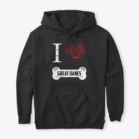 Great Dane Design I Heart Great Danes Black T-Shirt Front