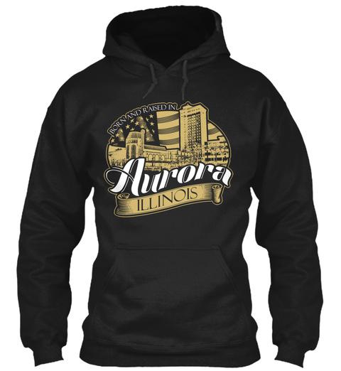 Aurora, Illinois (Mp) Black T-Shirt Front