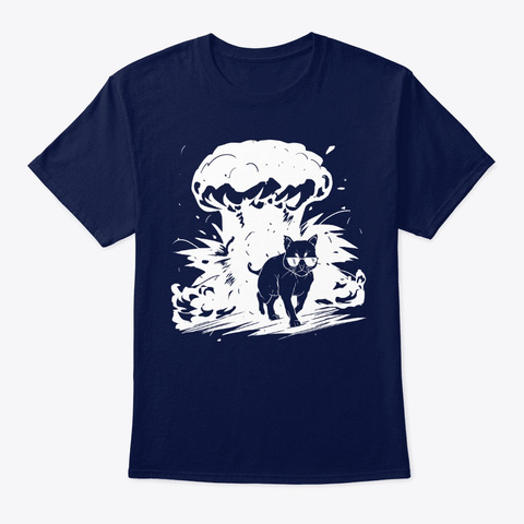 Cat Walking Away From The Explosion Navy T-Shirt Front