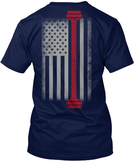 Limited Edition   Weight Lifting Flag Navy T-Shirt Back