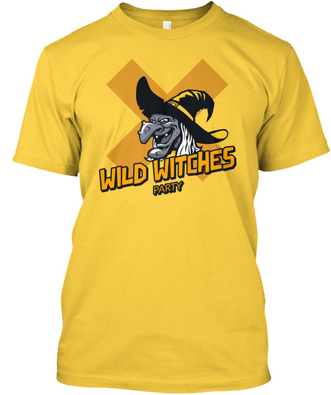 Wild Witches Party, Halloween  Yellow T-Shirt Front