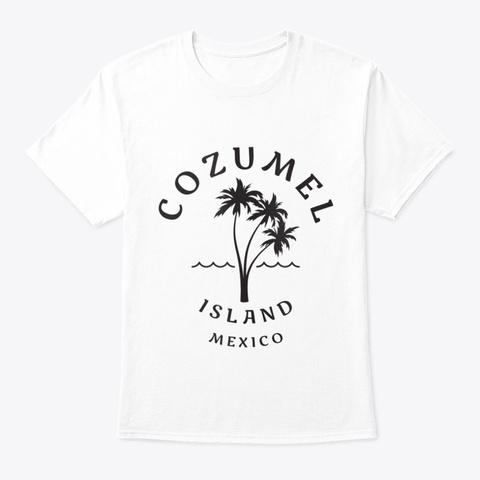 Retro Cool Original Cozumel Mexico Palm  White T-Shirt Front
