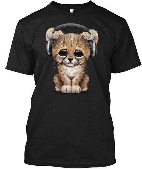 Cute Cheetah Cub Dj Wearing Headphones Black T-Shirt Front