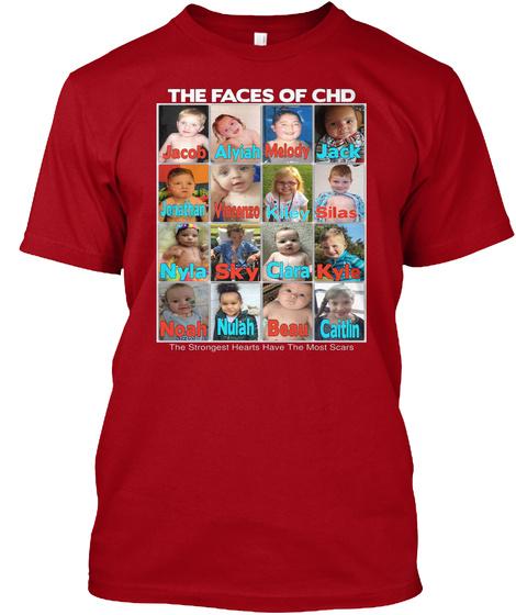The Faces Of Chd Melody Jack Jacob Alyiah Jonathan Vincenzo Kiley Silas Clara Nyla Sky Kyle Nulah Caitlin Beau Noah... Deep Red T-Shirt Front