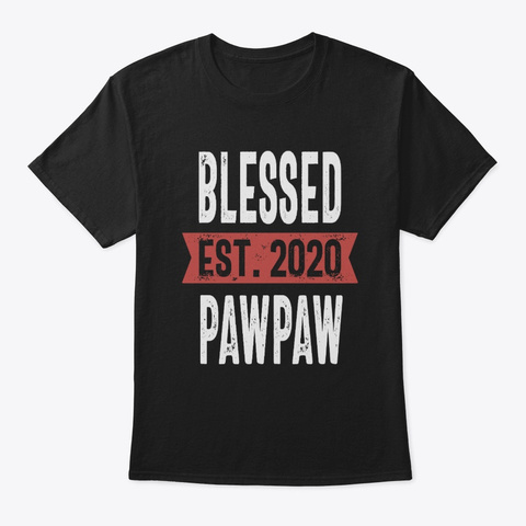 Mens Blessed Est. 2020 Paw Paw Gift Black T-Shirt Front