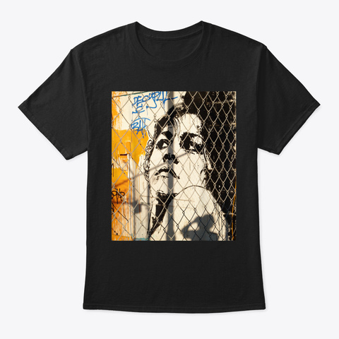 Diva Graffiti,Woman's Face,Street Art Dr Black T-Shirt Front