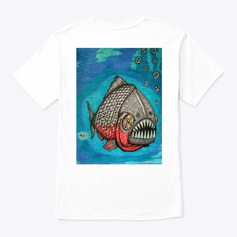 Classic Og Rx Cx Piranha Art Shirt White T-Shirt Back