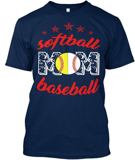 Softball Baseball Navy T-Shirt Front