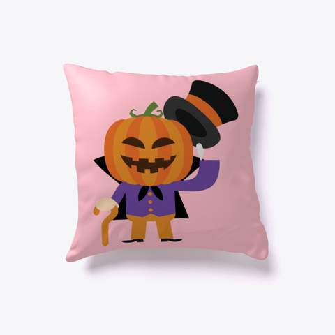 Mr Pumpkin Face Halloween Fun Pillows Pink T-Shirt Front