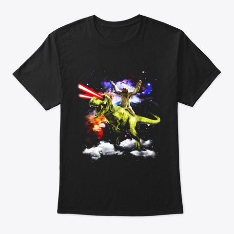 Sloth Riding T Rex Dinosaur Funny Sloth Black T-Shirt Front