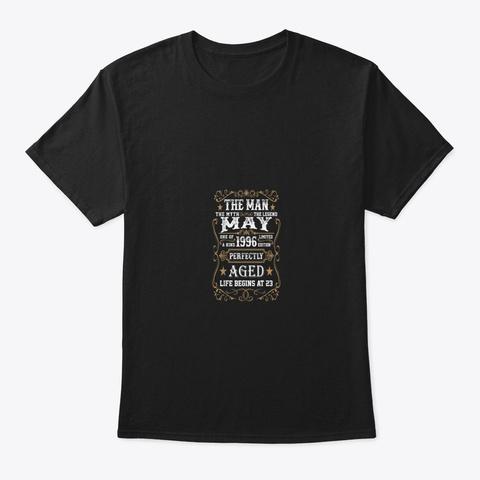 23rd Birthday Gift The Man Myth Legend Black T-Shirt Front