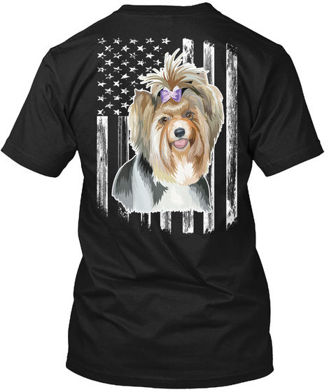 American Flag Biewer Terrier 4th Of July Black T-Shirt Back