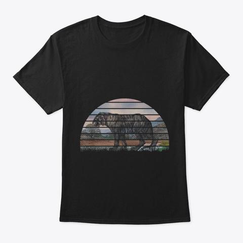 Vintage Retro Sunset Tiger 70 S Animal Lo Black T-Shirt Front