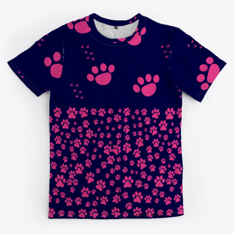 Pink Doggy Paws  Dark Navy T-Shirt Front
