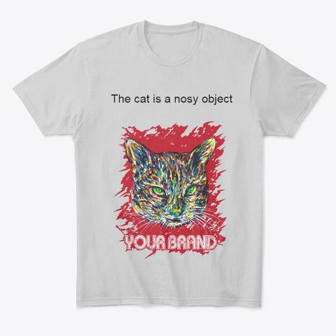 T Shirt Cat Light Heather Grey  T-Shirt Front